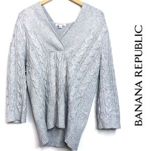 Banana Republic Wool Blend Knit Hooded Sweater L